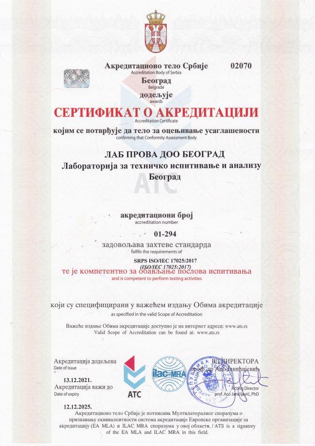 lab prova sertifikat o akreditaciji